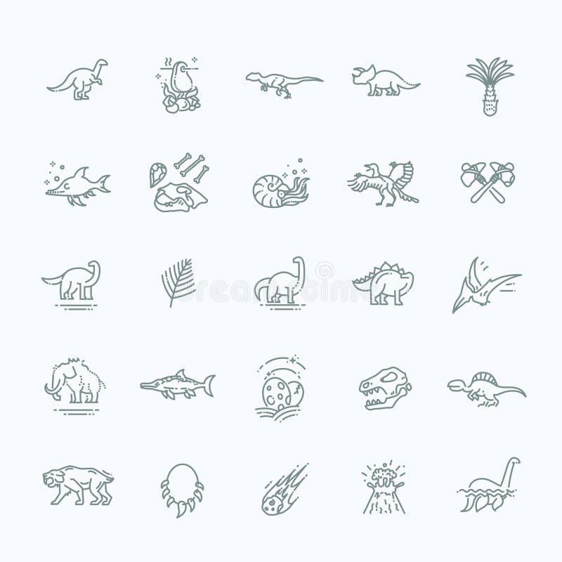 De vector van dinosauruspictogrammen Dinosaurusei en vulkaan, dinosaurusskelet en tyrannosauruspictogrammen royalty-vrije illustratie