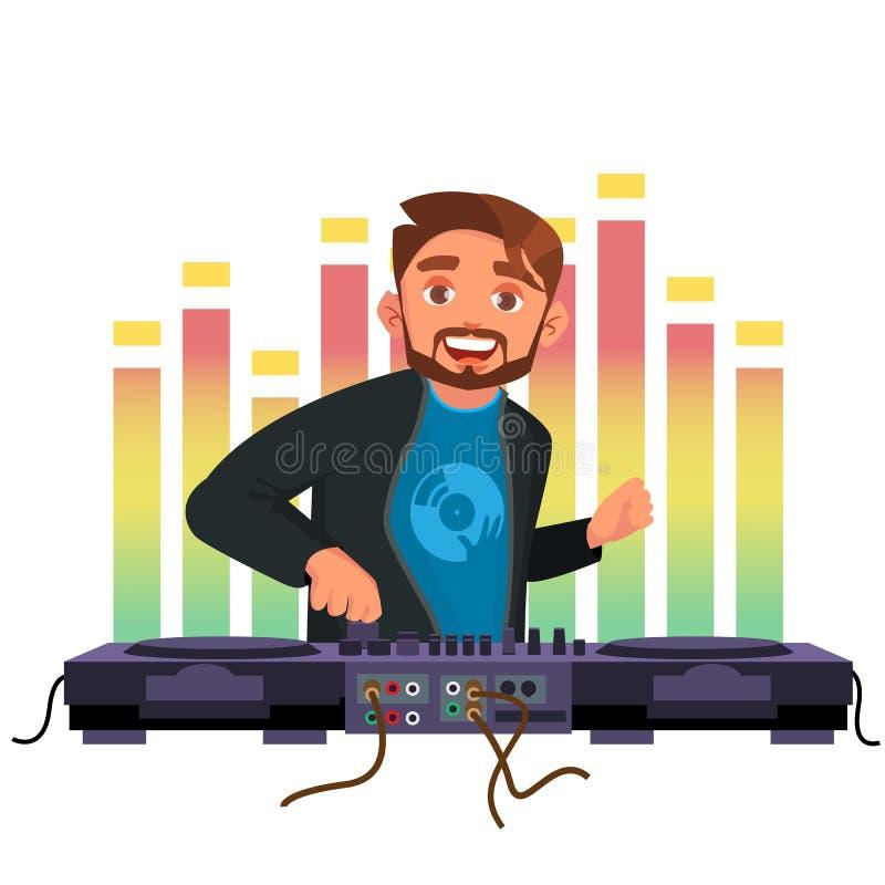 De Vector van DJ De speelmuziek van het Discohuis Modieuze Mens hoofdtelefoons Overleg concept vlak beeldverhaalkarakter vector illustratie