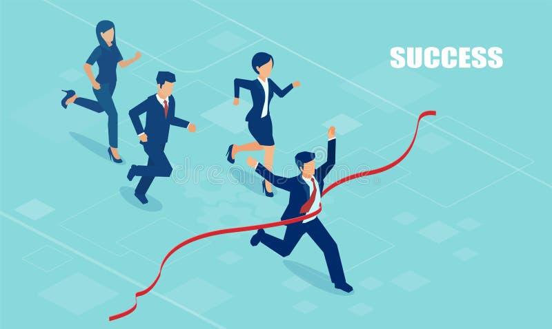 De vector van een zakenman kruising beëindigt lijn en het tearing rode die lint eindigen eerst door concurrenten wordt gevolgd stock illustratie