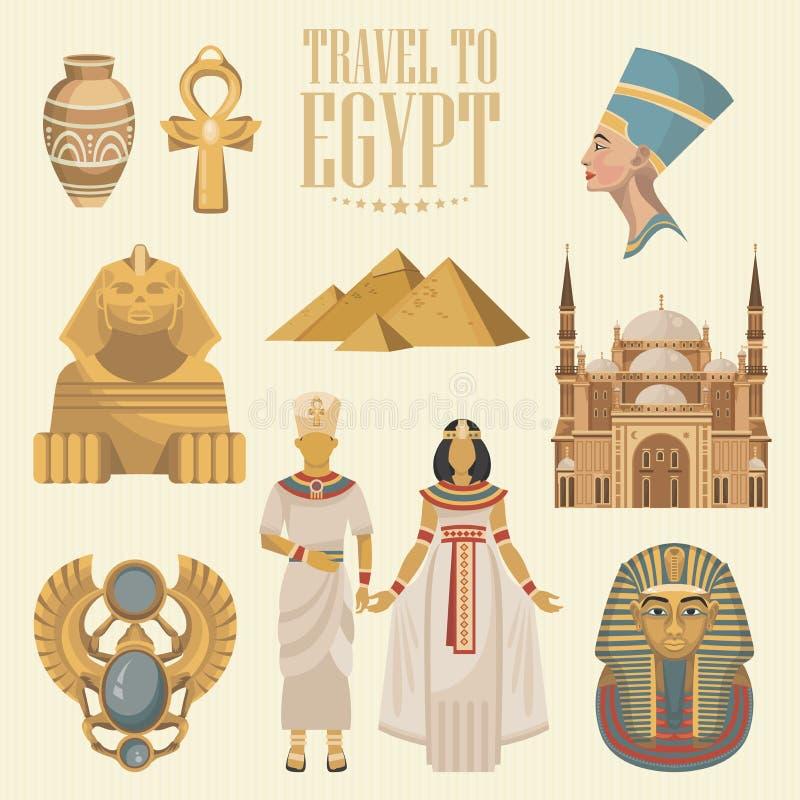 De vector van Egypte met sfinx wordt geplaatst die Egyptische traditionele pictogrammen in vlak ontwerp Vakantie en de zomer royalty-vrije illustratie