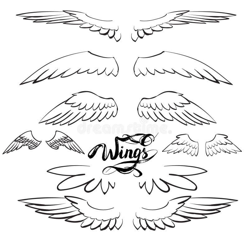 De vector van engelenvleugels, het van letters voorzien, het trekken vector illustratie