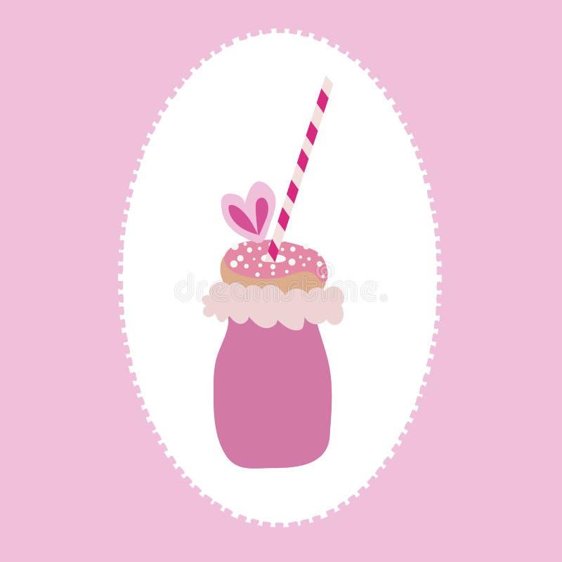De vector van in freakyshake met gesponnen suiker, doughnut met bestrooit, en een stro op een roze en witte achtergrond royalty-vrije illustratie