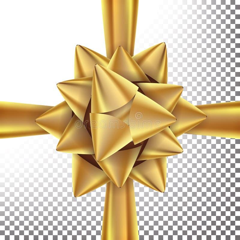 De Vector van de giftboog Helder Gouden Lint Op transparante illustratie als achtergrond stock illustratie