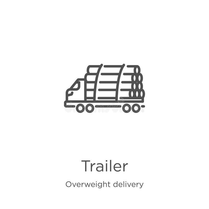 de vector van het aanhangwagenpictogram van te zware leveringsinzameling De dunne van het het overzichtspictogram van de lijnaanh stock illustratie