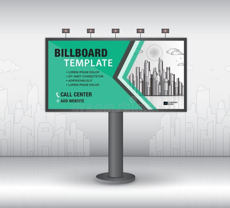 De vector van het aanplakbordontwerp, bannermalplaatje, reclame, Realistische bouw voor openlucht reclame op stadsachtergrond, vl stock illustratie