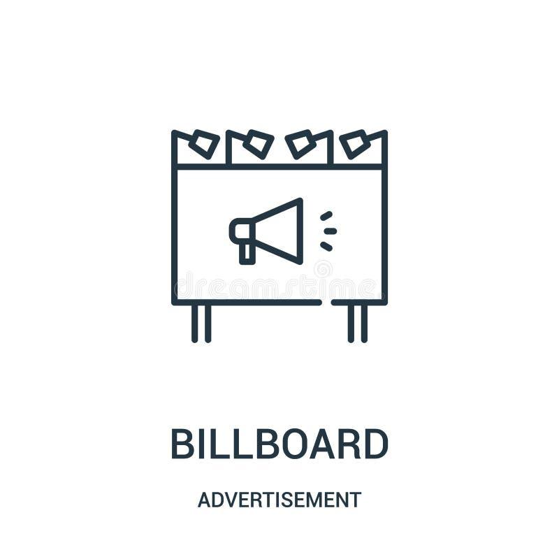 de vector van het aanplakbordpictogram van reclameinzameling De dunne van het het overzichtspictogram van het lijnaanplakbord vec stock illustratie