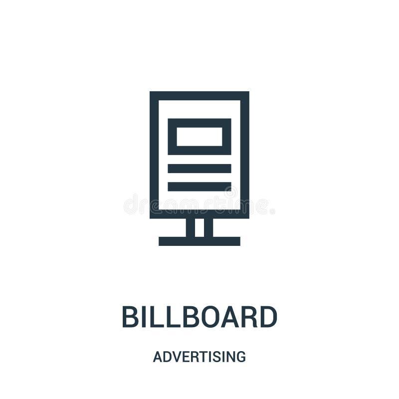 de vector van het aanplakbordpictogram van reclameinzameling De dunne van het het overzichtspictogram van het lijnaanplakbord vec royalty-vrije illustratie