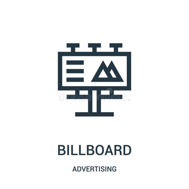 de vector van het aanplakbordpictogram van reclameinzameling De dunne van het het overzichtspictogram van het lijnaanplakbord vec vector illustratie
