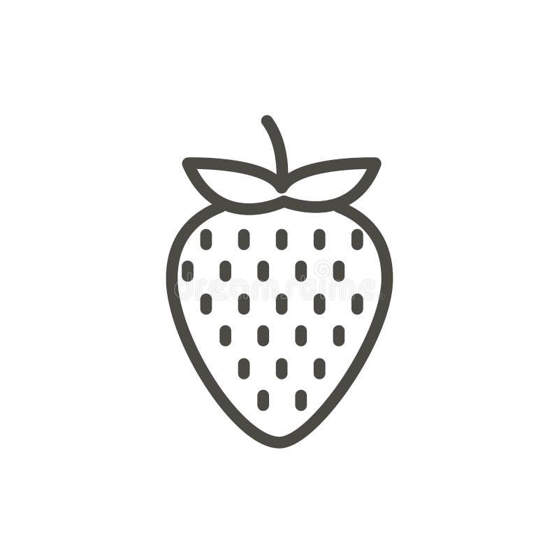 De vector van het aardbeipictogram Overzichtsfruit, het symbool van de lijnaardbei vector illustratie