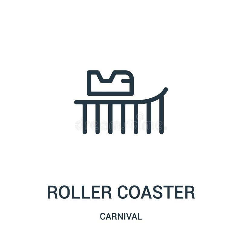 de vector van het achtbaanpictogram van Carnaval-inzameling De dunne van het het overzichtspictogram van de lijnachtbaan vectoril vector illustratie