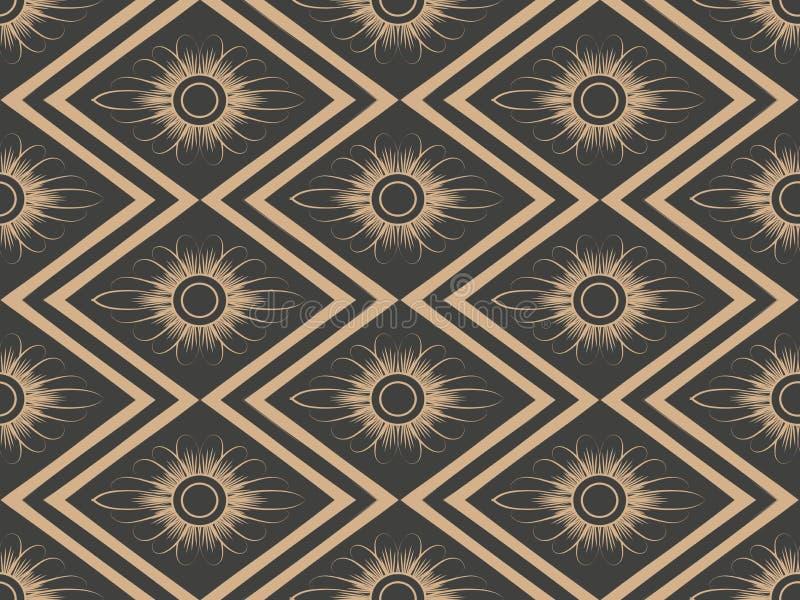De vector van de van het achtergrond damast naadloze retro patroon bloem van het de meetkunde dwarskader controleruit Het elegant royalty-vrije illustratie