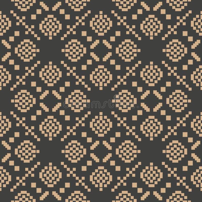 De vector van het van het achtergrond damast naadloze retro patroon caleidoscoop van het de meetkunde dwarskader mozaïekpixel Het royalty-vrije illustratie