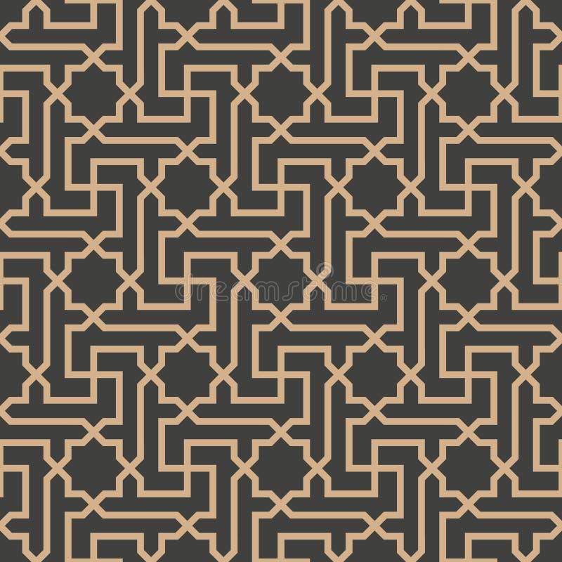De vector van de van het achtergrond damast naadloze retro patroon lijn van het de meetkunde dwarskader Islamitische ster spiraal stock illustratie