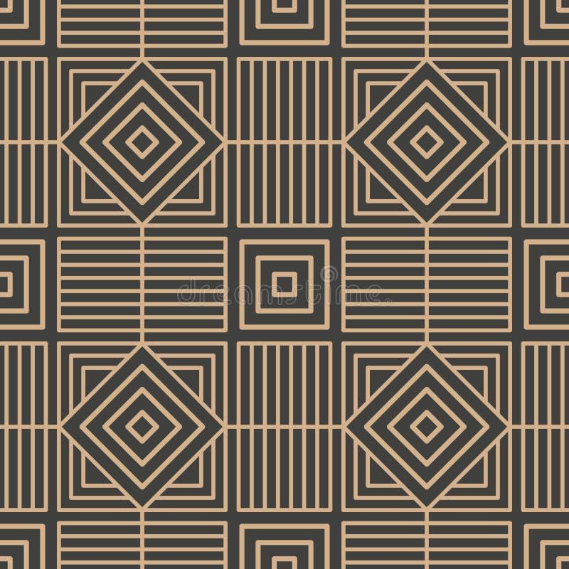 De vector van de van het achtergrond damast naadloze retro patroon lijn van het de meetkunde dwarskader veelhoekcontrole Het eleg vector illustratie