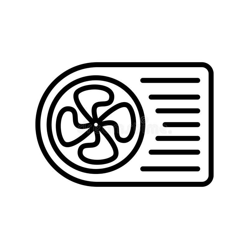 De vector van het airconditionerpictogram op witte elementen als achtergrond, van het airconditionerteken, van de lijn en van het stock illustratie