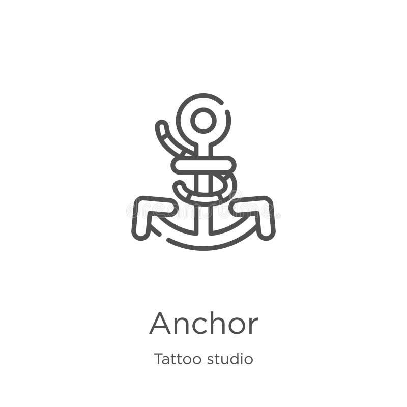 de vector van het ankerpictogram van de inzameling van de tatoegeringsstudio De dunne van het het overzichtspictogram van het lij royalty-vrije illustratie