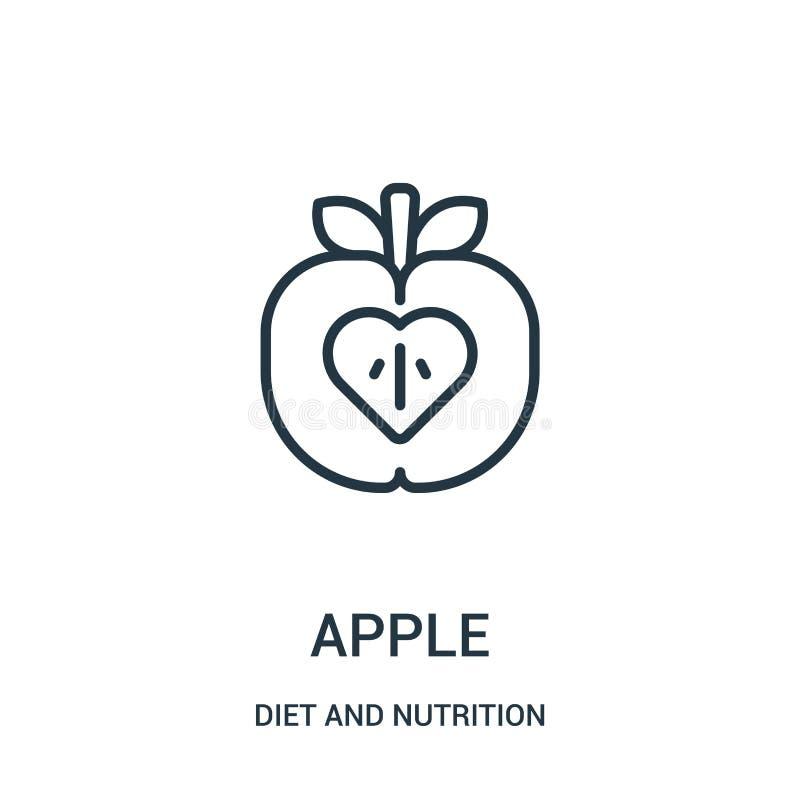 de vector van het appelpictogram van dieet en voedingsinzameling De dunne van het het overzichtspictogram van de lijnappel vector royalty-vrije illustratie