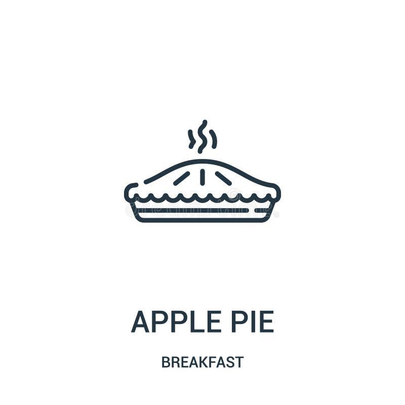 de vector van het appeltaartpictogram van ontbijtinzameling De dunne van het het overzichtspictogram van de lijnappeltaart vector royalty-vrije illustratie