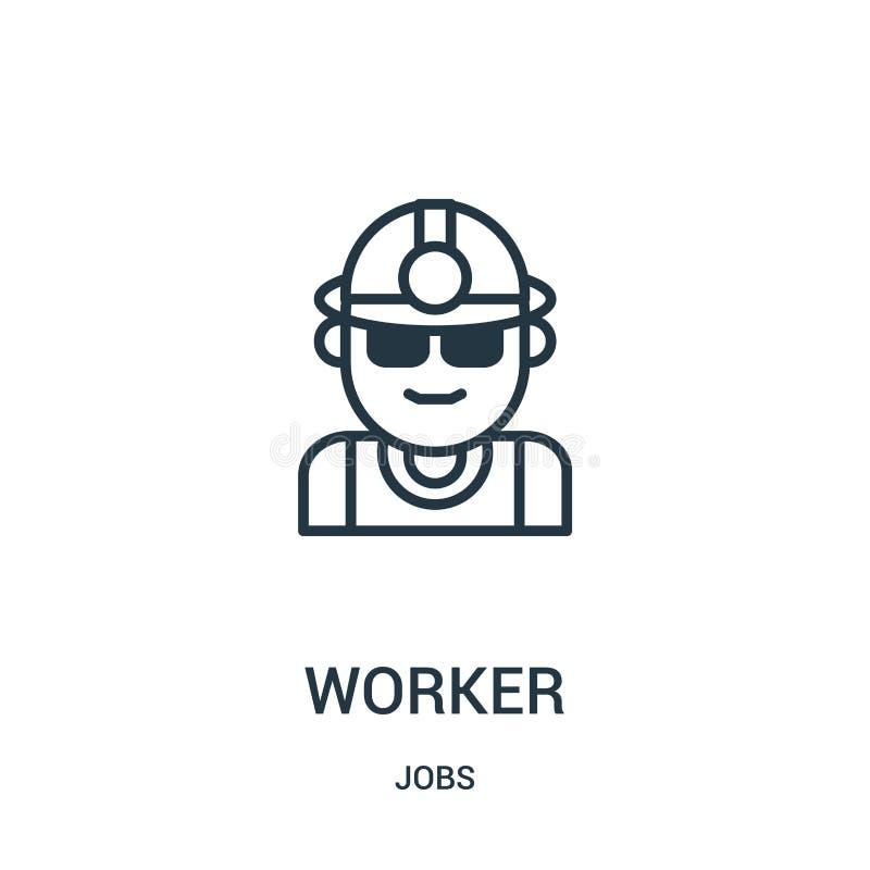 de vector van het arbeiderspictogram van baneninzameling De dunne van het het overzichtspictogram van de lijnarbeider vectorillus vector illustratie