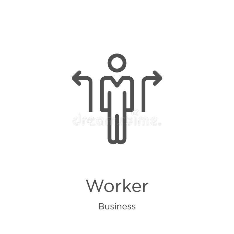 de vector van het arbeiderspictogram van bedrijfsinzameling De dunne van het het overzichtspictogram van de lijnarbeider vectoril stock illustratie