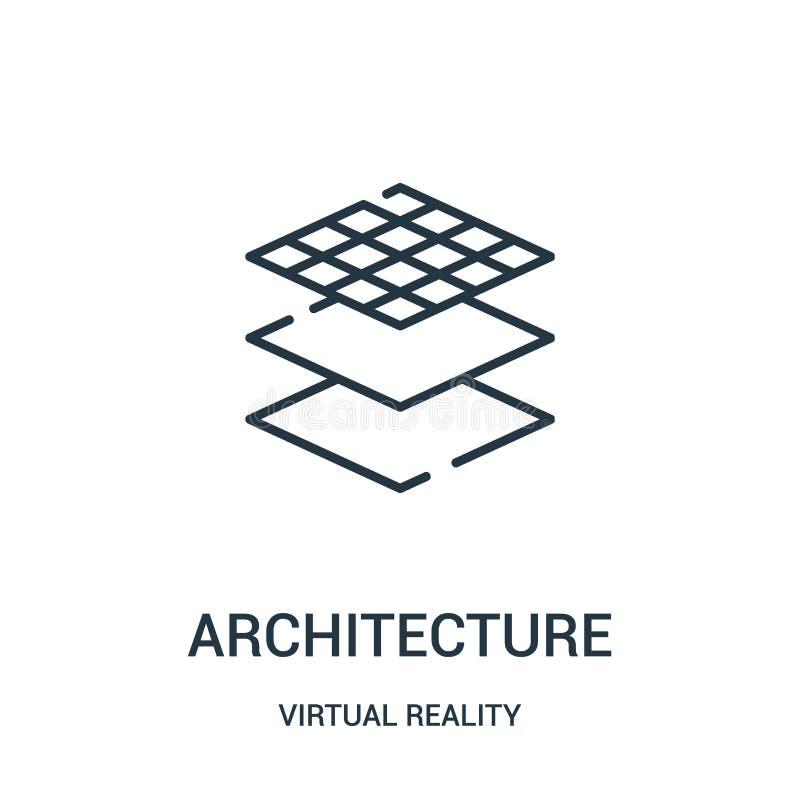 de vector van het architectuurpictogram van virtuele werkelijkheidsinzameling De dunne van het het overzichtspictogram van de lij vector illustratie