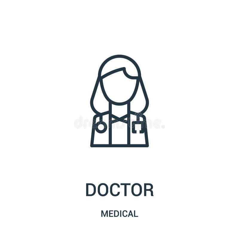 de vector van het artsenpictogram van medische inzameling Dunne lijn het pictogram vectorillustratie van het artsenoverzicht Line vector illustratie