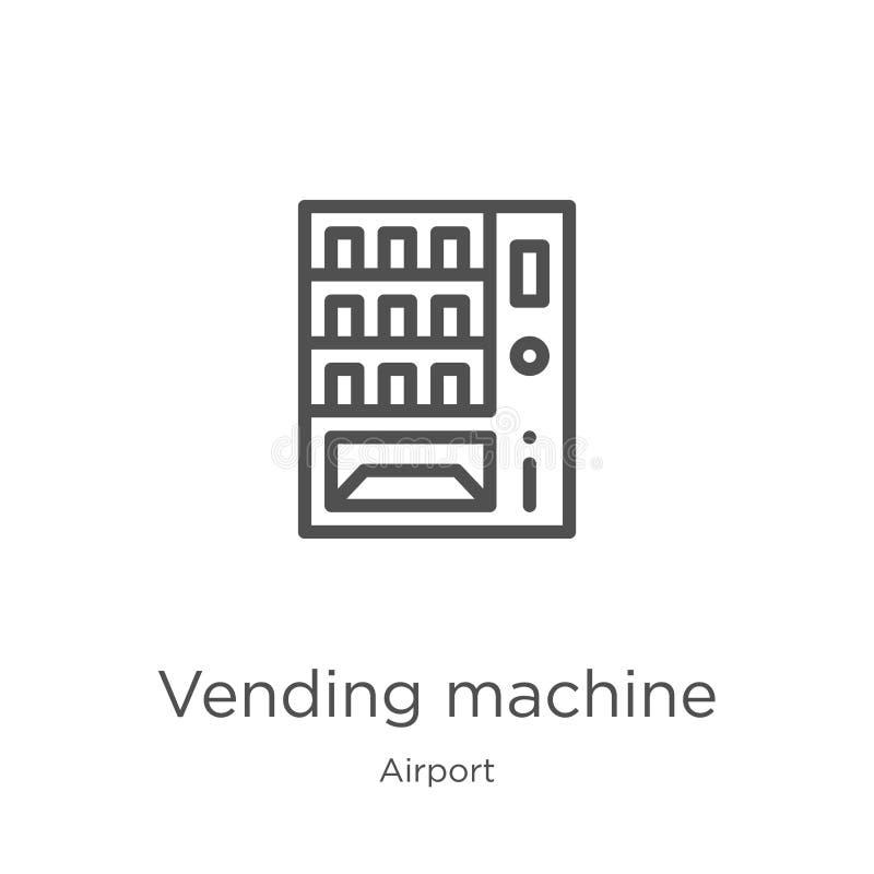 de vector van het automaatpictogram van luchthaveninzameling De dunne van het het overzichtspictogram van de lijnautomaat vectori stock illustratie