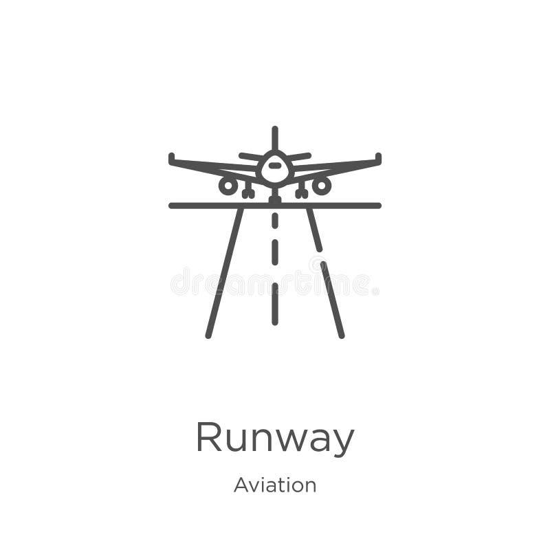 de vector van het baanpictogram van luchtvaartinzameling De dunne van het het overzichtspictogram van de lijnbaan vectorillustrat royalty-vrije illustratie