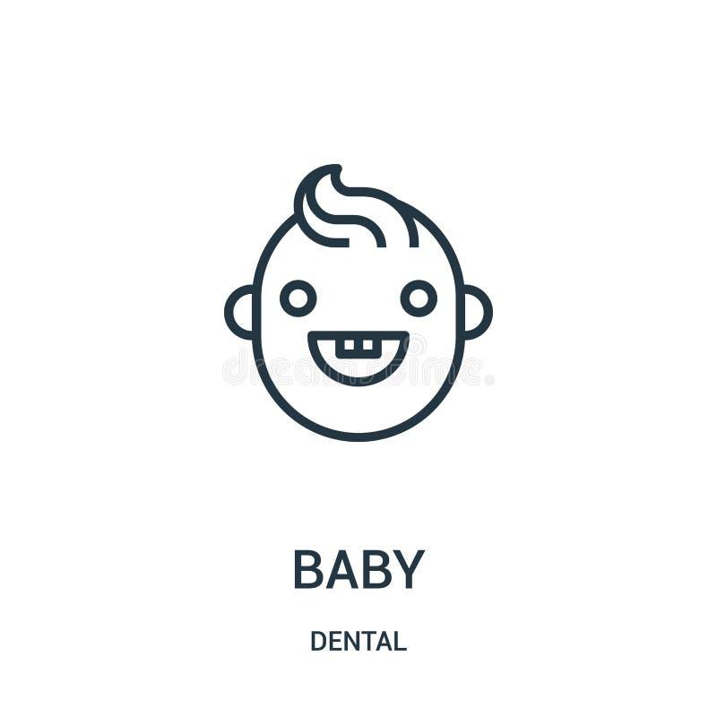 de vector van het babypictogram van tandinzameling De dunne van het het overzichtspictogram van de lijnbaby vectorillustratie Lin stock illustratie