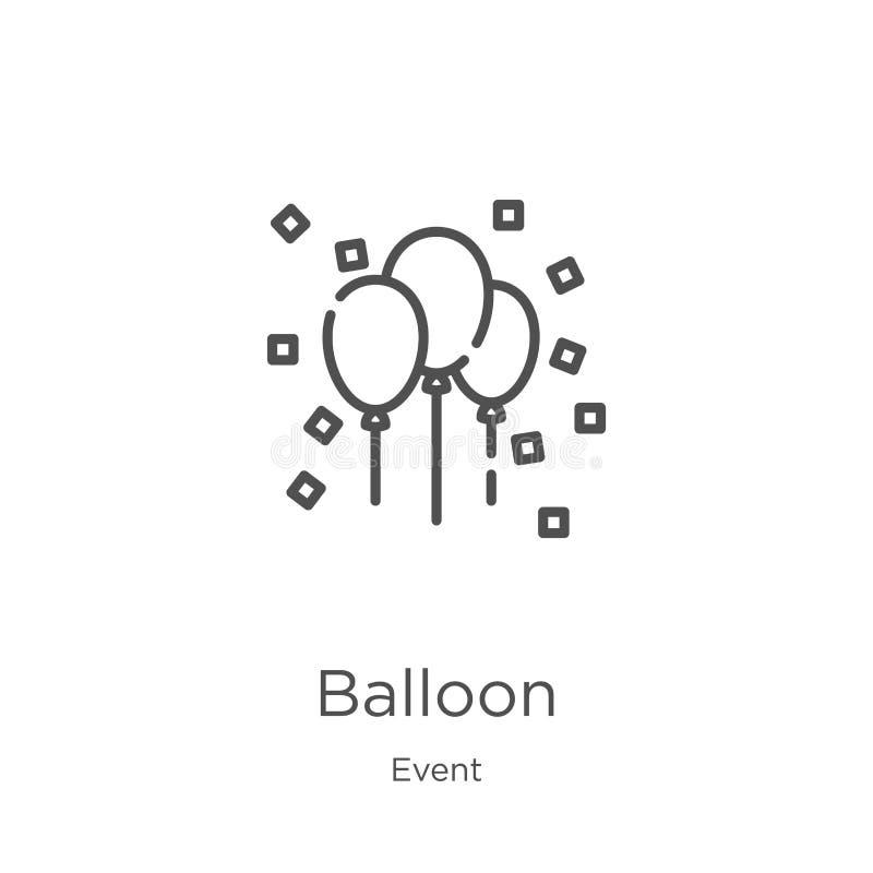 de vector van het ballonpictogram van gebeurtenisinzameling De dunne van het het overzichtspictogram van de lijnballon vectorillu royalty-vrije illustratie