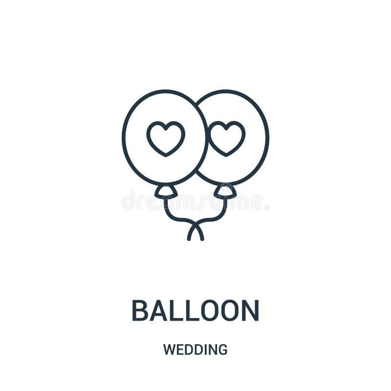 de vector van het ballonpictogram van huwelijksinzameling De dunne van het het overzichtspictogram van de lijnballon vectorillust stock illustratie
