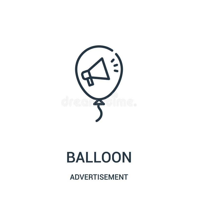 de vector van het ballonpictogram van reclameinzameling De dunne van het het overzichtspictogram van de lijnballon vectorillustra stock illustratie