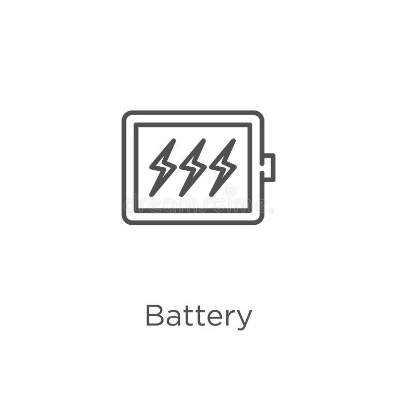 de vector van het batterijpictogram van g-inzameling De dunne van het het overzichtspictogram van de lijnbatterij vectorillustrat vector illustratie