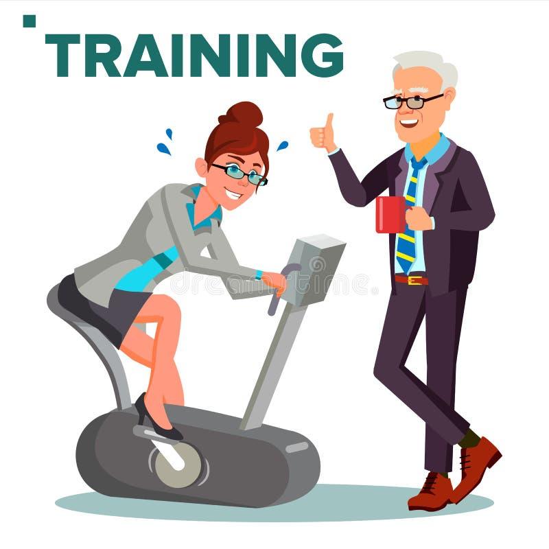 De Vector van het bedrijfs Opleidingsconcept Bedrijfsvrouw die op Hometrainer lopen Op groene achtergrond De leider van het team  royalty-vrije illustratie
