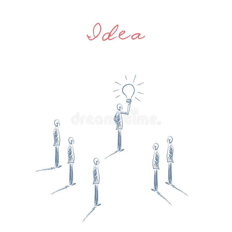 De vector van het bedrijfscreativiteitconcept met zakenmanholding lightbulb en team Hand getrokken schets vector illustratie