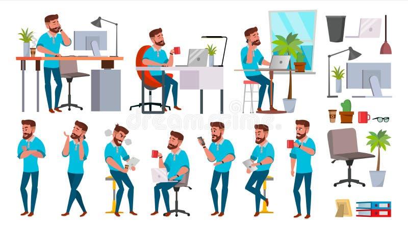 De Vector van het bedrijfsmensenkarakter Werkende geplaatste mensen Bureau, Creatieve Studio gebaard Volledige lengte Programmeur stock illustratie