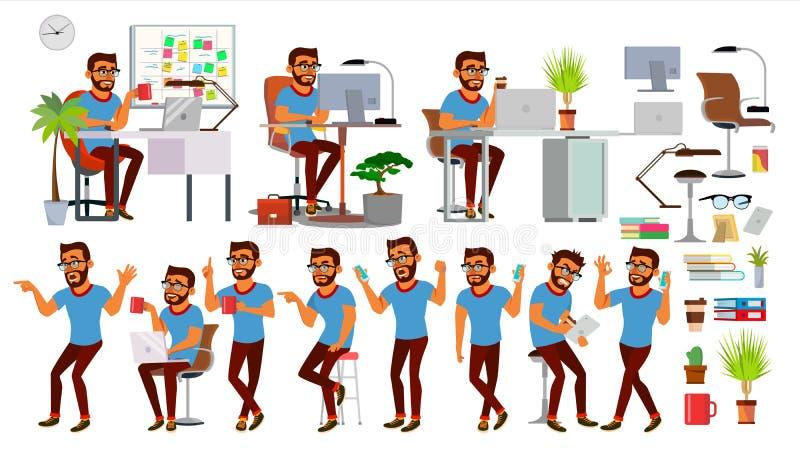 De Vector van het bedrijfsmensenkarakter Werkende Hindoese Geplaatste Mensen Bureau, Creatieve Studio gebaard Bedrijfs situatie s royalty-vrije illustratie