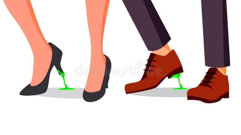 De Vector van het bedrijfsprobleemconcept Geplakte voeten Zakenman, Vrouwenschoen met Kauwgom Verkeerde Stap, Besluit beeldverhaa vector illustratie