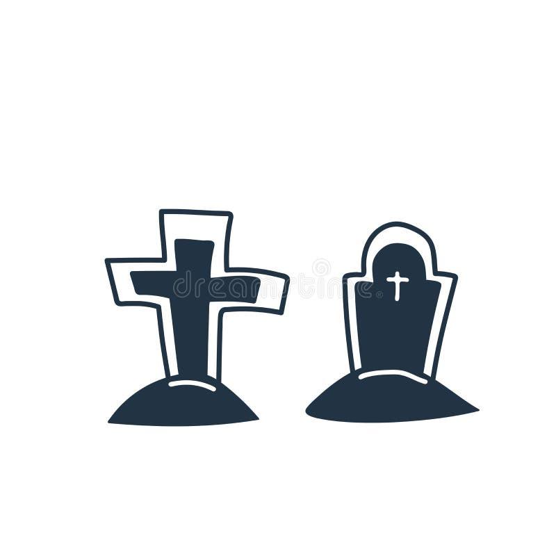 De vector van het begraafplaatspictogram op witte achtergrond, Begraafplaatsteken wordt geïsoleerd dat royalty-vrije illustratie