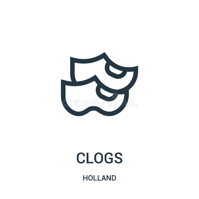de vector van het belemmeringenpictogram van de inzameling van Holland De dunne van het het overzichtspictogram van lijnbelemmeri royalty-vrije illustratie