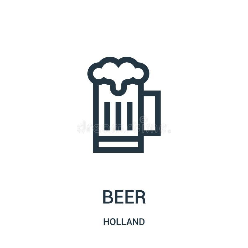 de vector van het bierpictogram van de inzameling van Holland De dunne van het het overzichtspictogram van het lijnbier vectorill royalty-vrije illustratie
