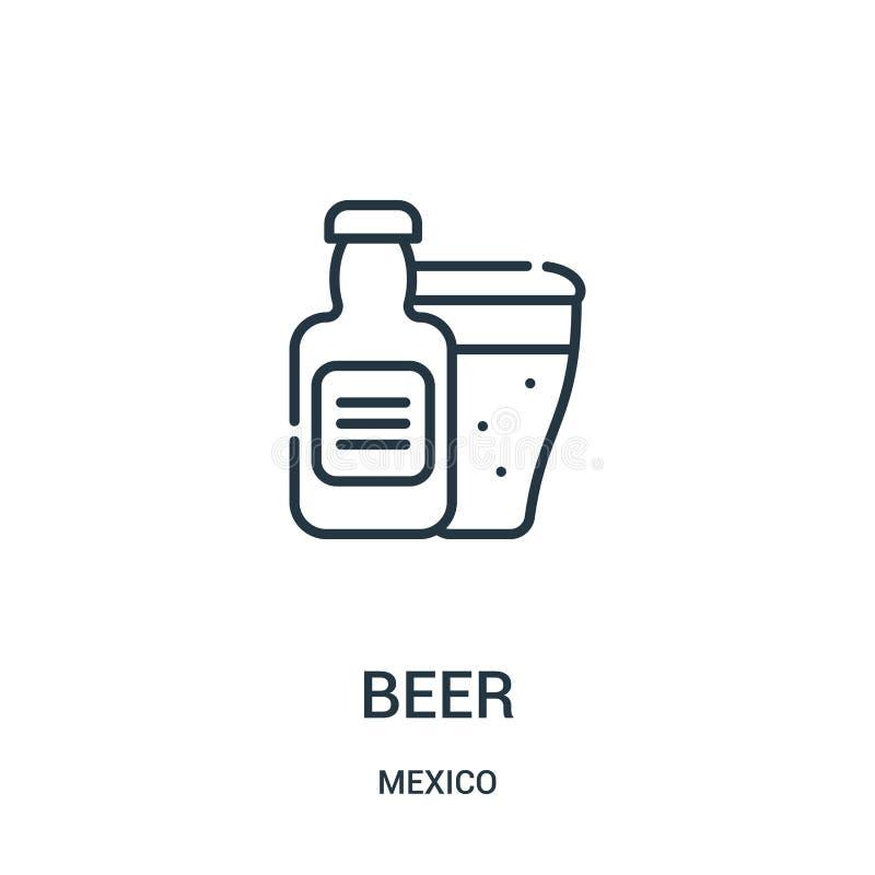 de vector van het bierpictogram van de inzameling van Mexico De dunne van het het overzichtspictogram van het lijnbier vectorillu stock illustratie
