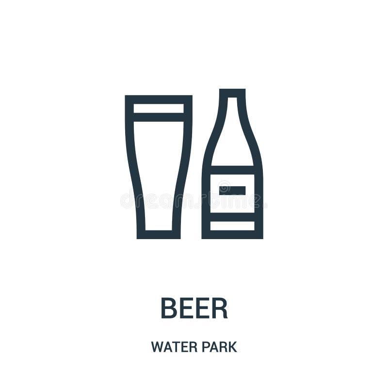 de vector van het bierpictogram van de inzameling van het waterpark De dunne van het het overzichtspictogram van het lijnbier vec vector illustratie