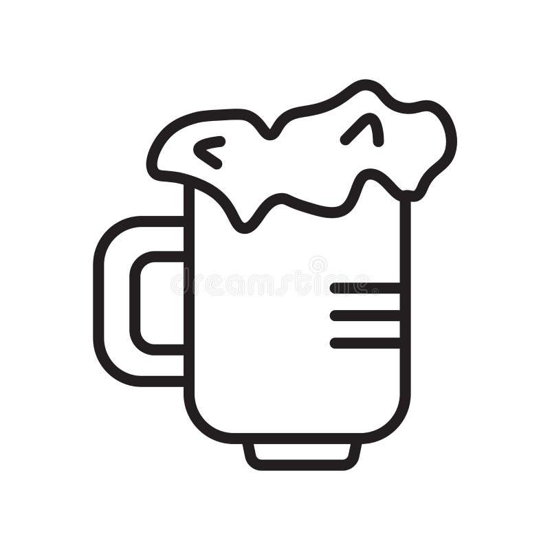 De vector van het bierpictogram op witte achtergrond, Bierteken, de lineaire symbool en elementen van het slagontwerp in overzich stock illustratie
