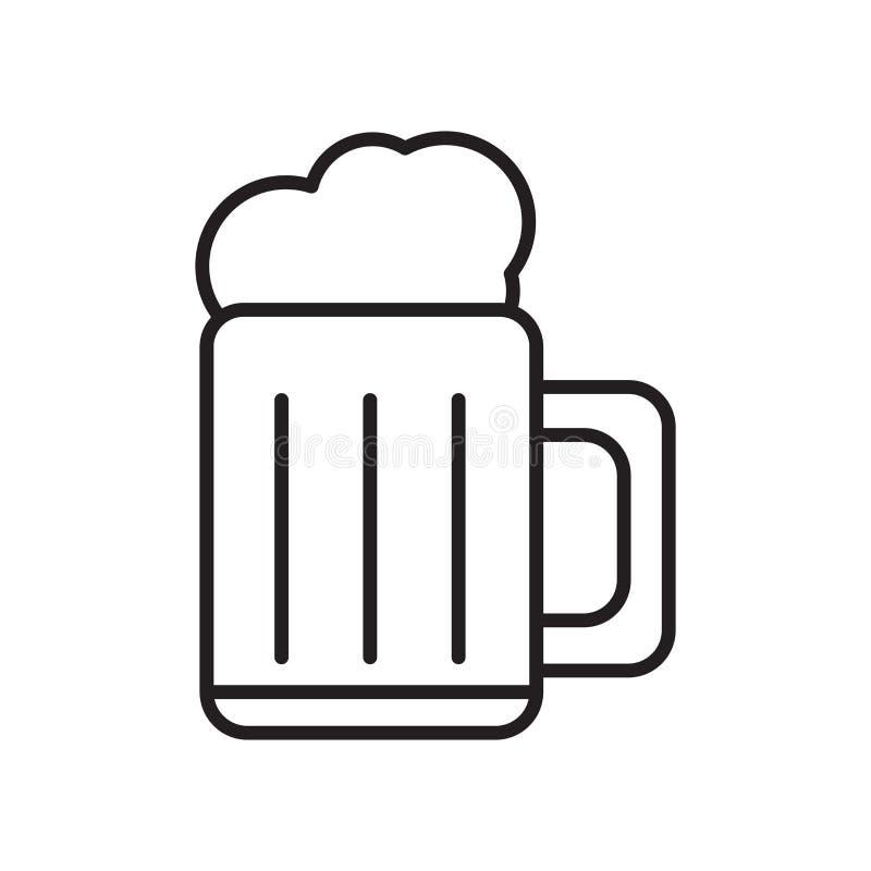 De vector van het bierpictogram op witte achtergrond, Bierteken, teken en symbolen in dunne lineaire overzichtsstijl die wordt ge royalty-vrije illustratie