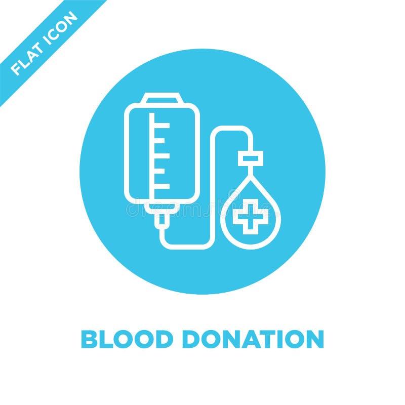 de vector van het bloeddonatiepictogram van de inzameling van liefdadigheidselementen De dunne van het het overzichtspictogram va royalty-vrije illustratie
