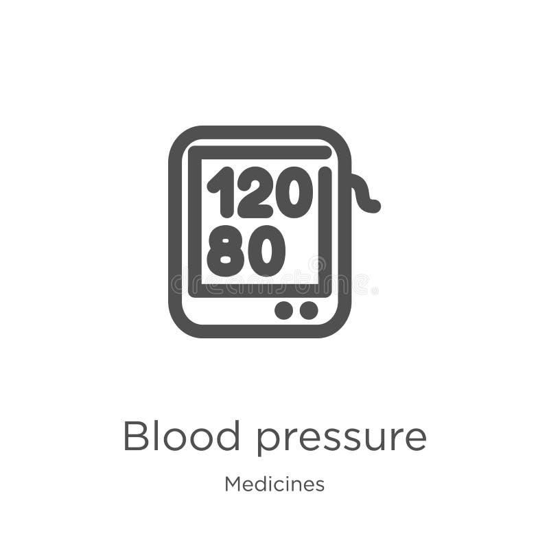 de vector van het bloeddrukpictogram van geneesmiddelen inzameling De dunne van het het overzichtspictogram van de lijnbloeddruk  vector illustratie