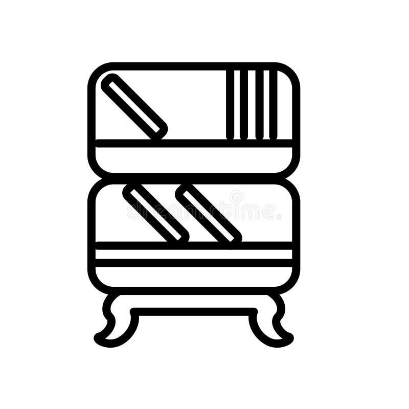 De vector van het boekenkastpictogram op witte achtergrond, Boekenkastteken wordt geïsoleerd dat vector illustratie