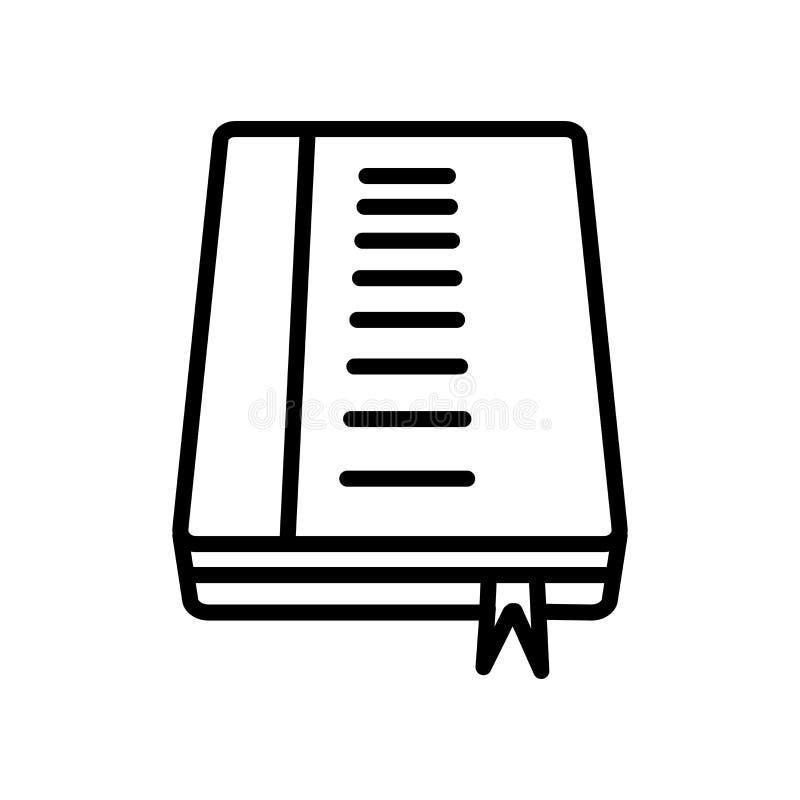 De vector van het boekenpictogram op witte achtergrond, Boekenteken wordt geïsoleerd dat, lin royalty-vrije illustratie