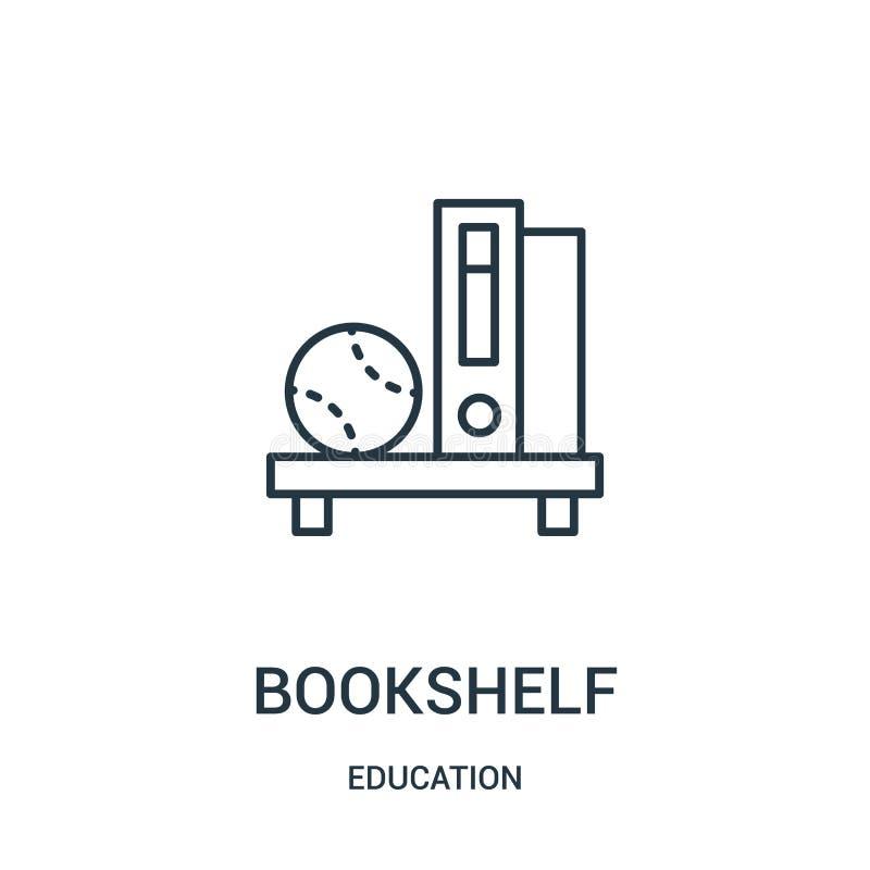 de vector van het boekenrekpictogram van onderwijsinzameling De dunne van het het overzichtspictogram van het lijnboekenrek vecto vector illustratie